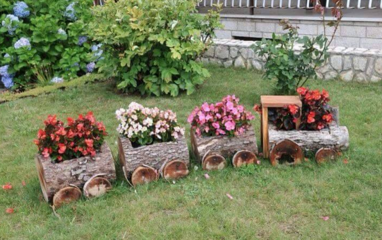 Wooden Log Train Partner  #garden #gardening
