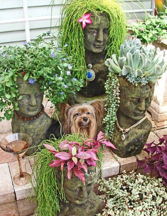 Inexpensive cement head #planter will look amazing in your #garden