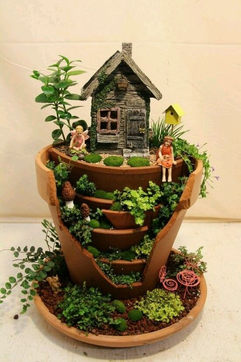 So cute broken pot fairy #garden