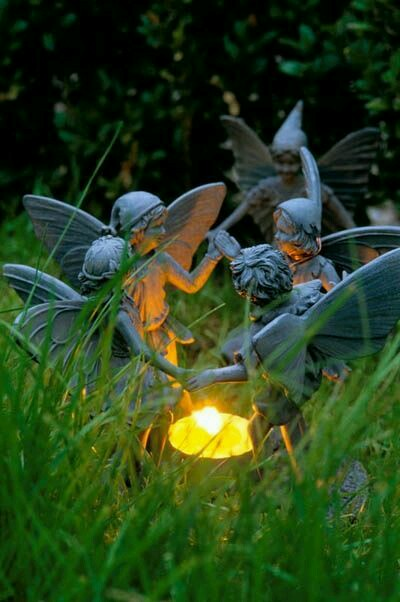 Cute Garden fairies <3  #garden #sculpture