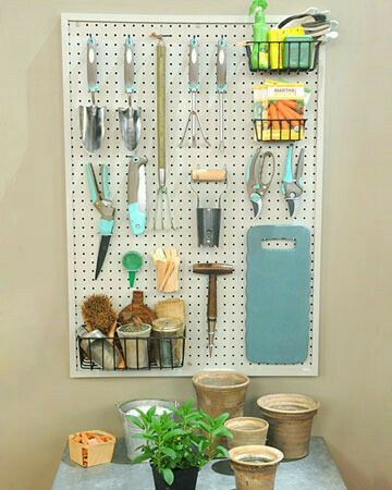 Space saving #Gardening tools organization idea..