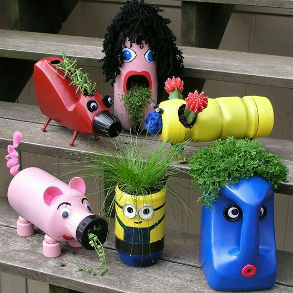 Old bottles new buddies!! Cute #planter for kids # garden #gardenig