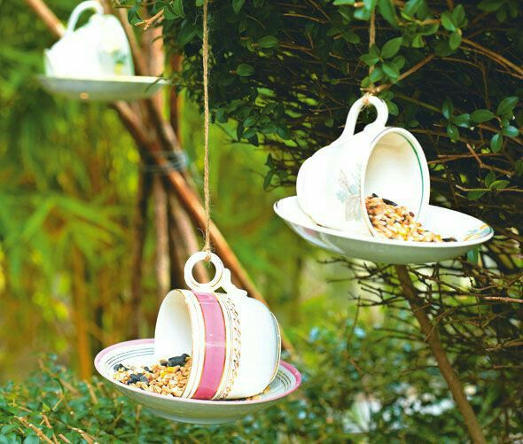 Tea cup bird feeder Nice #garden decoration