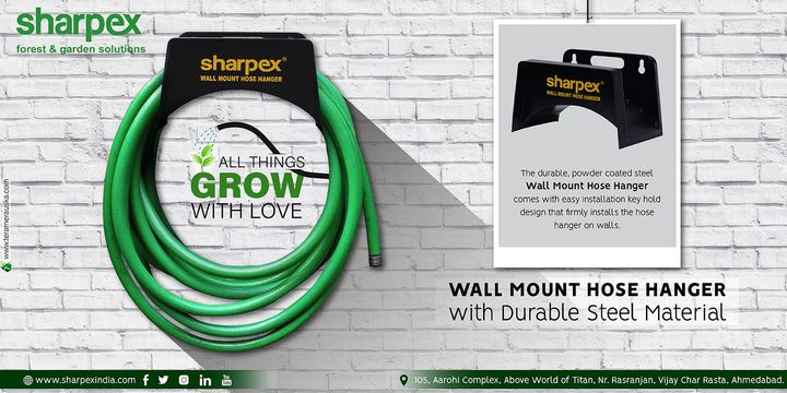 Wall Mount Hose Hanger All things grow with love The durable, powder coated steel Wall Mount Hose Hanger comes with easy installation key hold design that firmly installs the hose hanger on walls https://bit.ly/2KIzquG https://amzn.to/2KRmxew #Gardening #sharpexindia #sharpex #WallMountHoseHanger #Wall #Mount #House #Hanger Gardenscapes House & Garden