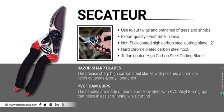 Secateur Use to cut twigs and branches of trees and shrubs Export quality - First time in India Non-Stick coated high carbon steel cutting blade - 2