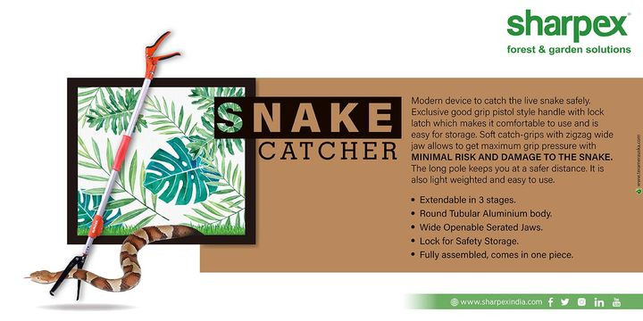 Snake Catcher Modern device to catch the live snake safely. Exclusive good grip pistol style handle with lock latch which makes it comfortable to use and is easy for storage. Soft catch-grips with zigzag wide jaw allows to get maximum grip pressure with  MINIMAL RISK AND DAMAGE TO THE SNAKE. The long pole keeps you at a safer distance. It is also light weighted and easy to use. Extendable in 3 stages. Round Tubular Aluminium body. Wide Openable Serated Jaws. Lock for Safety Storage. Fully assembled, comes in one piece. https://sharpexindia.com/ https://bit.ly/2Lm6ida https://amzn.to/2JBHSHI  #Gardening #sharpexindia #sharpex #LawnMower #garden #snakecatcher #catcher #Aluminium