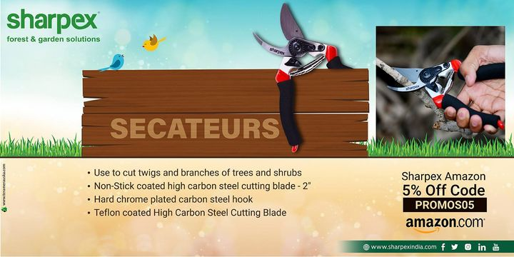Secateurs Use to cut twigs and branches of trees and shrub Non-Stick coated high carbon steel cutting blade - 2