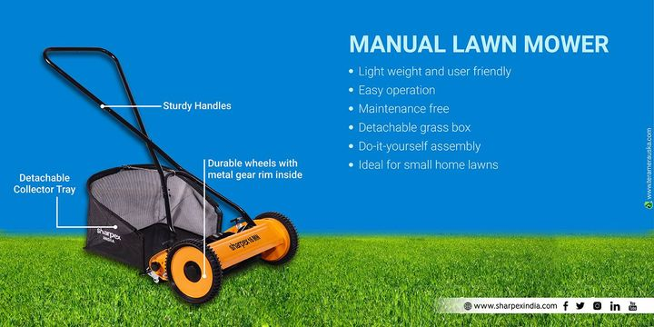 Manual Lawn Mower Light weight and user friendly Easy operation Maintenance free Detachable grass box Do-it-yourself assembly Ideal for small home lawns Sturdy Handles, Detachable Collector Tray, Durable wheels with metal gear rim inside  https://amzn.to/2M58xSd https://bit.ly/2vjJ0LC https://sharpexindia.com/  #gardening #sharpexindia #sharpex #gardeningproducts #garden #plant #manuallawnmower #grass #sturdyhandles