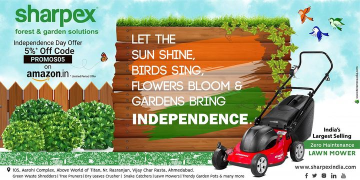 Celebrating 72nd Independence Day  https://bit.ly/2KPjRSG https://amzn.to/2KPk5t0  #ProudIndian #Independenceday #Gardening #sharpexindia #sharpex #LawnMower #garden #MotorUnit #SturdyDurableWheels #Detachablegrasscollectorbox #FoldableHandle #Switch #Grass