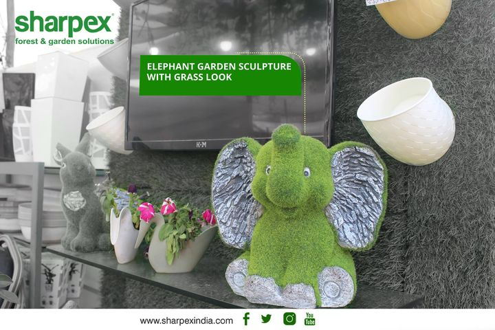 Elephant garden sculpture with grass look  https://sharpexindia.com/  #gardening #sharpexindia #sharpex #gardeningproducts #Lawncare #Simplygardenspares #Selfpropelledlawnmower #gardenstorage #Growwithgarden #flower #flowerpot #garden #Secateur #plants #gardenproduct