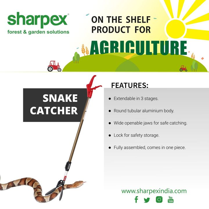 Snake Catcher  Extendable in 3 stages. Round Tubular Aluminium body. Wide Openable Serated Jaws. Lock for Safety Storage. Fully assembled, comes in one piece.  http://sharpexindia.com/gardening/ https://sharpexindia.com/gardening/snake-catcher-3  #gardeningproducts #gardenproduct #gardenpot #plantershelfstand #flowerpots #plant #garden #flower  Ahmedabad, India Gandhinagar, Gujarat Vadodara, Gujarat, India Surat, Gujarat Mumbai, Maharashtra Chennai, India