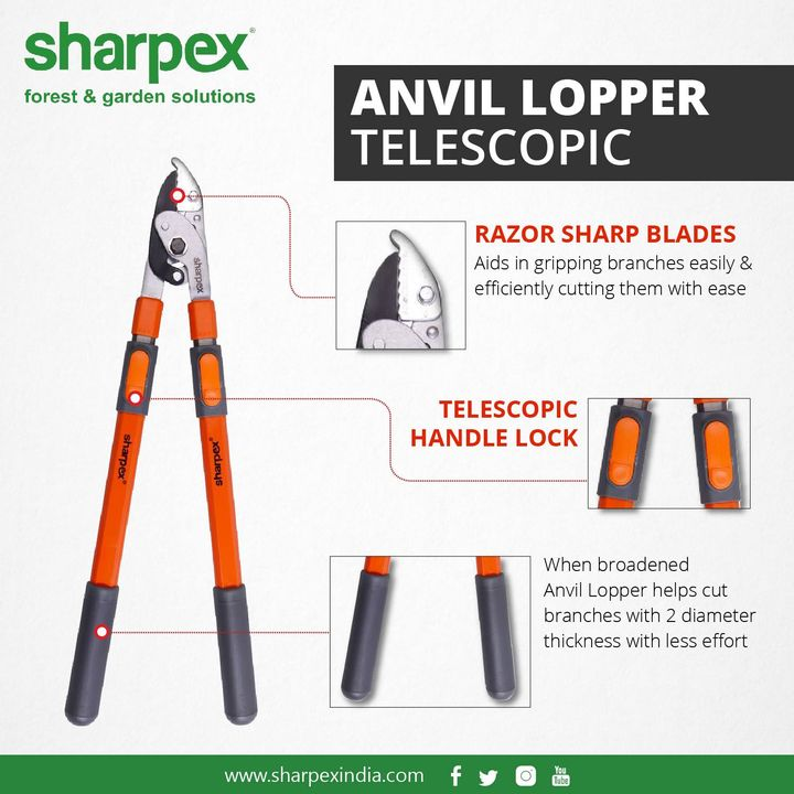 Anvil Lopper - Telescopic  Aids in gripping branches easily & efficiently #cutting them with ease When broadened #anvillopper helps cut branches with 2 diameter thickness with less effort  https://sharpexindia.com/gardening/anvil-lopper-telescopic http://sharpexindia.com/gardening/ https://www.amazon.in/Sharpex-Telescopic-Leverage-Lopper-Orange/dp/B00IF3Z1JO  #gardeningproducts #gardenproduct #gardenpot #plantershelfstand #flowerpots #plant #garden #flower  Ahmedabad, India Gandhinagar, Gujarat Vadodara, Gujarat, India Surat, Gujarat Mumbai, Maharashtra Chennai, India