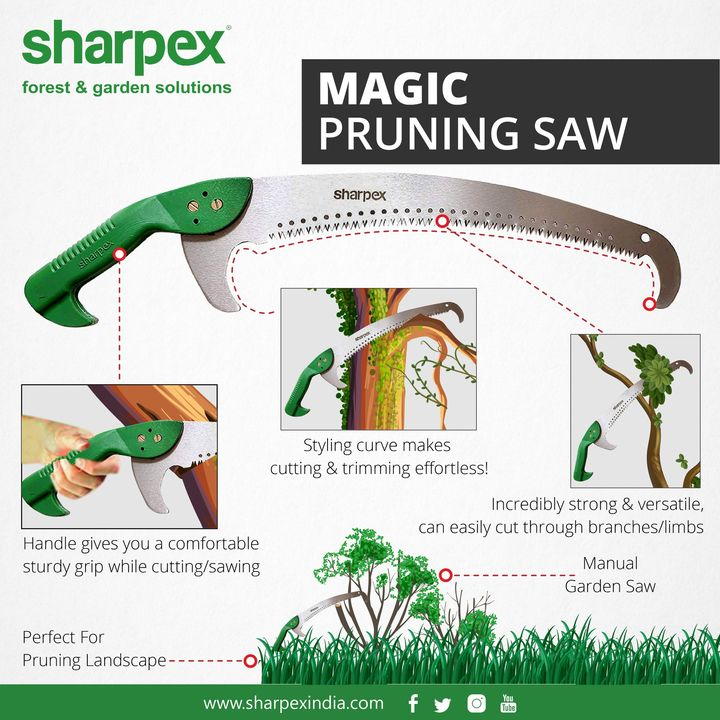 Magic pruning saw Styling Curve Makes Cutting & Trimming Effortless! Incredibly Strong & Versatile, Can easily cut through branches/limbs Handle Gives You a Comfortable Sturdy Grip While Cutting/Sawing Manual Garden Saw Perfect for pruning landscape  #gardeningproducts #gardenproduct #gardenpot #plantershelfstand #flowerpots #plant #garden #flower  https://sharpexindia.com/gardening https://sharpexindia.com/gardening/magic-pruning-saw https://www.amazon.in/Sharpex-Pruning-Manual-Garden-Branches/dp/B00RBLDHII