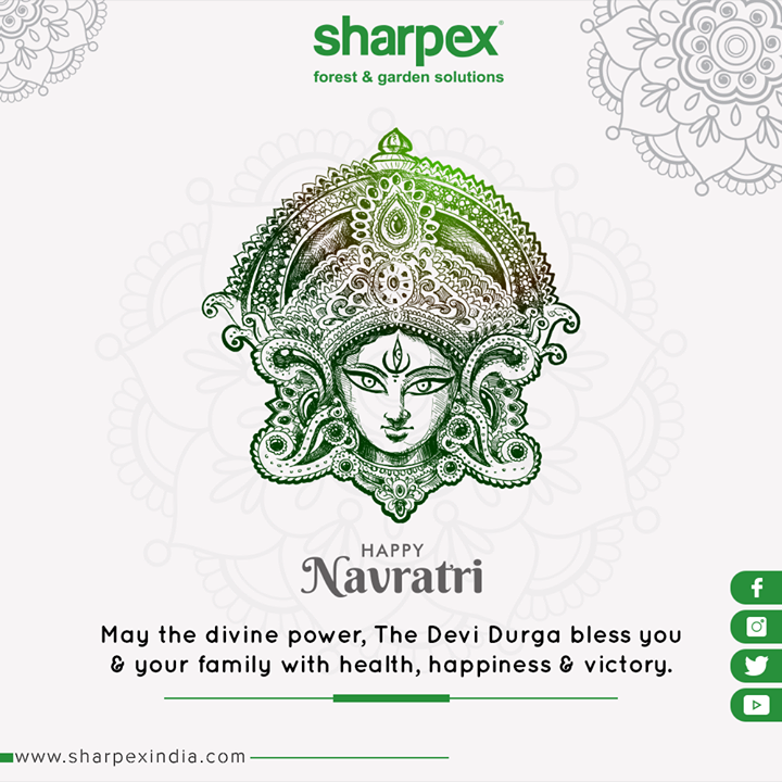 May the divine power, the Devi Durga bless you & your family with health, happiness & victory.  #Navratri #Navratri2019 #HappyNavratri #Dandiya #Garba #NavratriFever #IndianFestivals #ShubhNavratri #Festival #Celebration #GardeningTools #ModernGardeningTools #GardeningProducts #GardenProduct #Sharpex #SharpexIndia