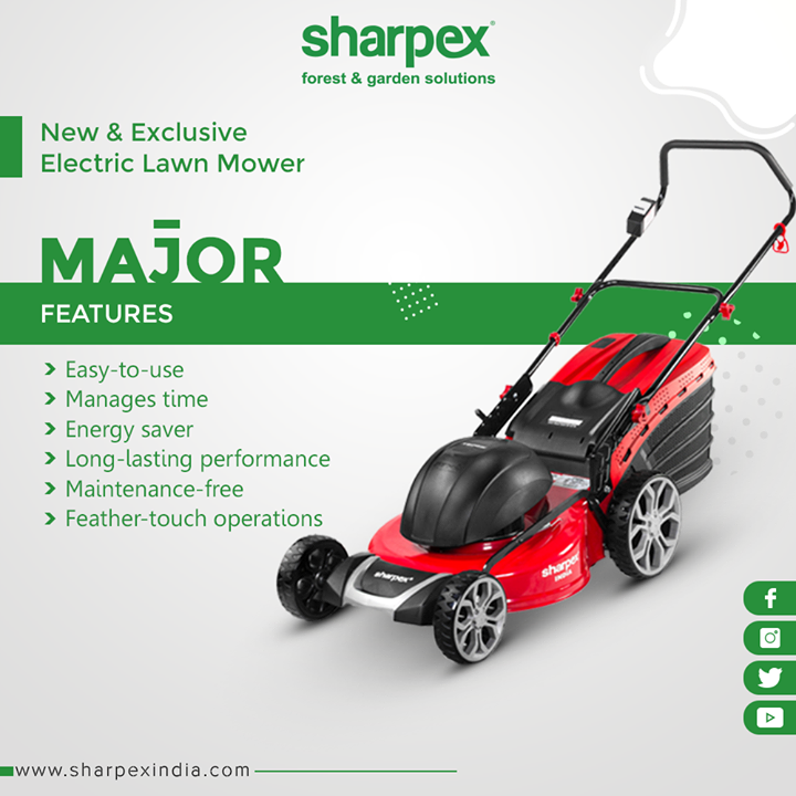 Our new and exclusive Electric Lawn Mower with major features  #SharpexIndia #GardeningTools #ModernGardeningTools #GardeningProducts #GardenProduct #Sharpex