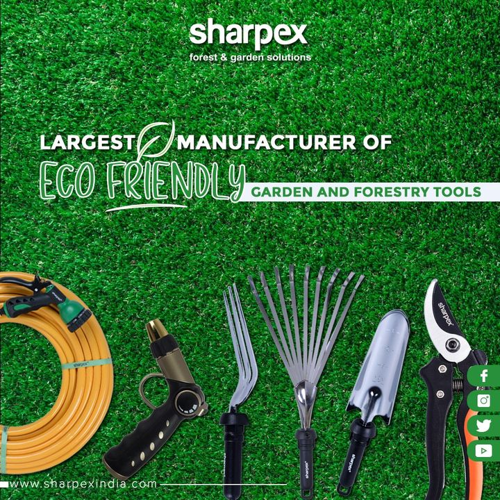 Today, Sharpex is the largest manufacturer and exporter of eco-friendly garden and forestry tools like Lawn Mower, Grass Cutting Machine, Secateurs, Grass Trimmer, Mobile Chipper, Branch Cutter, and Long Cutter. Yet another diversification is the introduction of Sharpex Portable Concrete Cutter and Aqua Power Cleaner. These revolutionary products are being used extensively for multifarious industrial uses.  #GardeningTools #ModernGardeningTools #GardeningProducts #GardenProduct #Sharpex #SharpexIndia