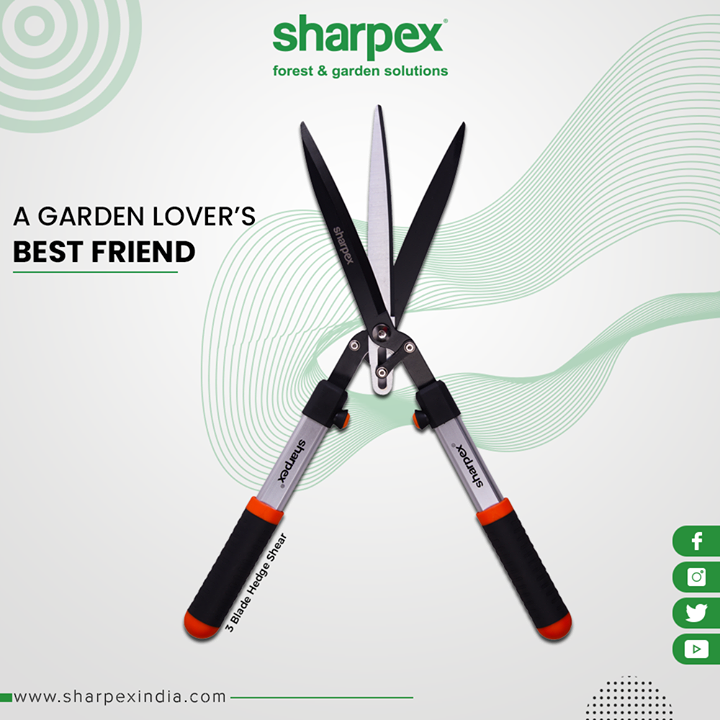 Accelerate the look of your garden with this smartly designed 3 Blade Hedge Shear.  #GardeningTools #ModernGardeningTools #GardeningProducts #GardenProduct #Sharpex #SharpexIndia