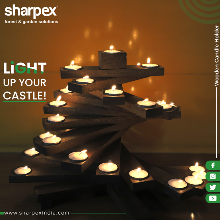 Light up your spaces with our Wooden Candle Holder!  #GardeningProducts #GardenProduct #Sharpex #SharpexIndia #GardeningTools #ModernGardeningTools