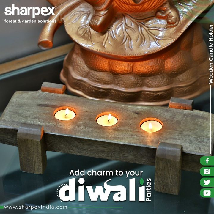 Add class & charm to your Diwali Gatherings with this artfully designed Wooden Candle Holder.  #Diwali2019 #Diwali #GardeningProducts #GardenProduct #Sharpex #SharpexIndia #GardeningTools #ModernGardeningTools