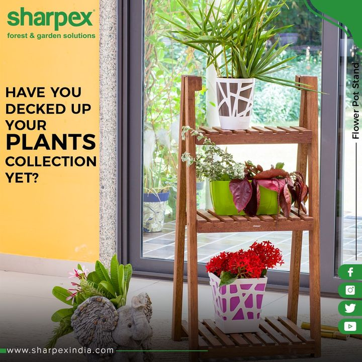 Add a rustic charm to your flower collection with our Flower Pot Stand!  #GardeningTools #ModernGardeningTools #GardeningProducts #GardenProduct #Sharpex #SharpexIndia