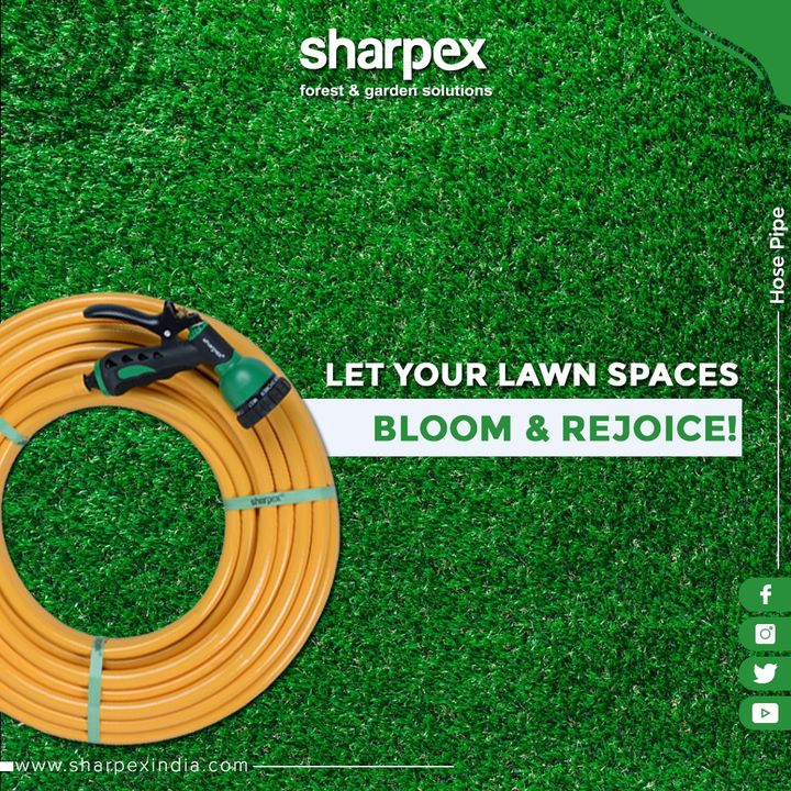 Rejuvenate your lawn spaces by showering water with our Hose Pipe!  #GardeningTools #ModernGardeningTools #GardeningProducts #GardenProduct #Sharpex #SharpexIndia