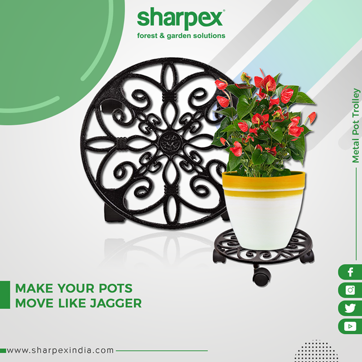 Add retro luxury & simple pastoral touch to your garden with this corrosion-resistant & rustproof Metal Pot Trolley!  #GardeningTools #ModernGardeningTools #GardeningProducts #GardenProduct #Sharpex #SharpexIndia