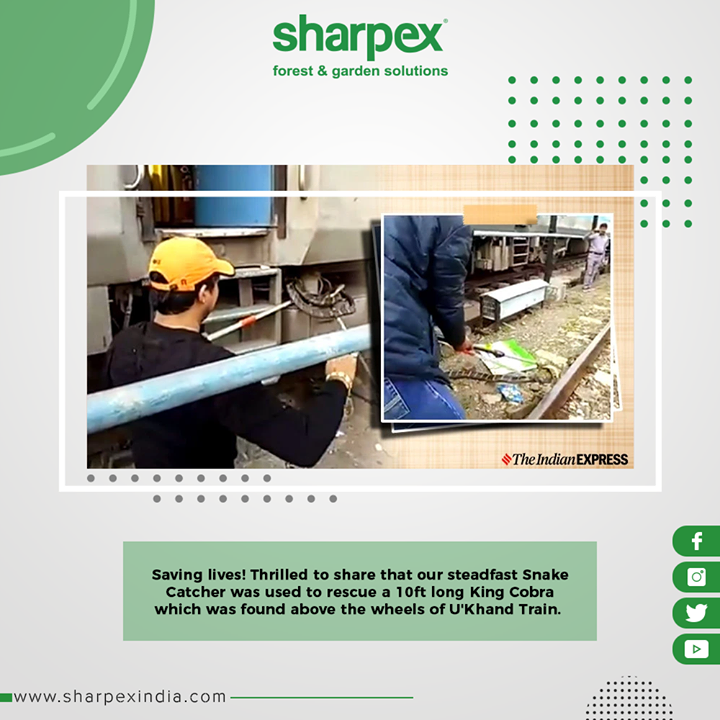 Saving lives! Thrilled to share that our steadfast Snake Catcher was used to rescue the 10ft King Cobra which was found above the wheels of U'Khand Train.  #GardeningTools #ModernGardeningTools #GardeningProducts #GardenProduct #Sharpex #SharpexIndia