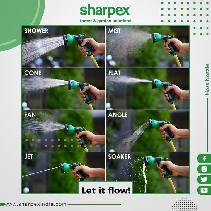 Need a garden hose for gardening purpose, washing your car, for powering a pressure washer, or that can live outside during the worst winters? Then our 8 pattern water spray gun should be at the top of your list.  #GardeningTools #ModernGardeningTools #GardeningProducts #GardenProduct #Sharpex #SharpexIndia