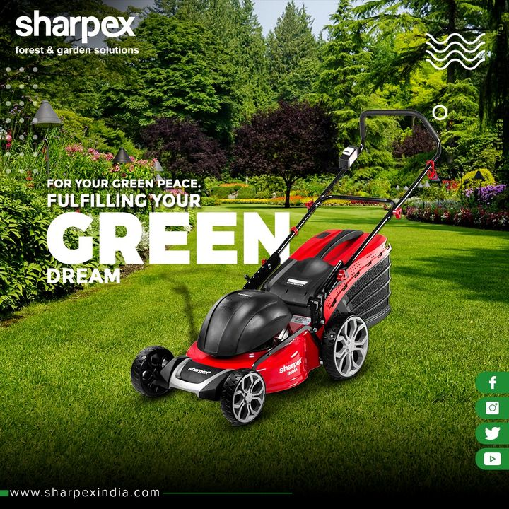 For your Green Peace. Fulfilling your Green Dream...  Renew your garden space with the handy & hassle-free #ElectricLawnMower from Sharpex!  #GardeningTools #ModernGardeningTools #GardeningProducts #GardenProduct #Sharpex #SharpexIndia