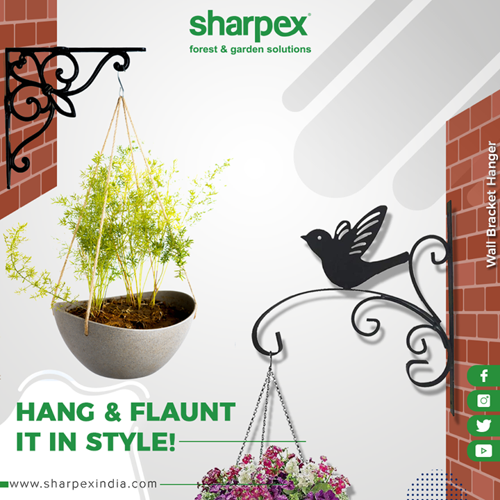 Add elegance to your Garden Spaces or Home Area with this Black Wall Bracket Hanger which can be used for Garden Pots, Hanging Flower Pots, and Bird Feeder Bracket.   This Stunning Black finish Smooth Color complements anything that hangs on it, adding elegance and beauty to your home or garden. Create a consistent, sleek look for your garden. Looks great within a variety of Long and curvaceous modeling, Provides elegant and fashionable appearance.  #Bracket #GardeningTools #ModernGardeningTools #GardeningProducts #GardenProduct #Sharpex #SharpexIndia