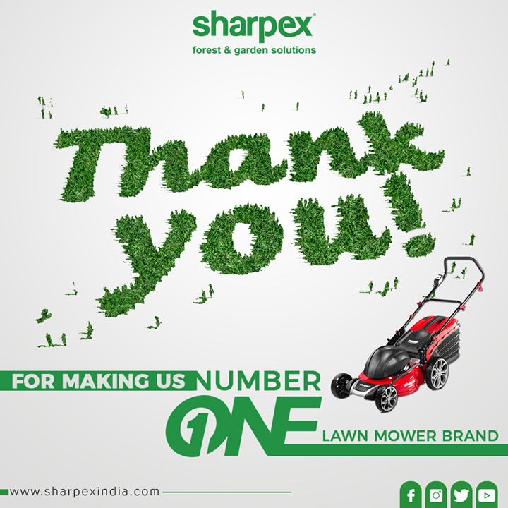 Thank you for making us the number one Lawn Mower Brand. We thank all our patrons for their constant love, support, and faith!  #GardeningTools #ModernGardeningTools #GardeningProducts #GardenProduct #Sharpex #SharpexIndia