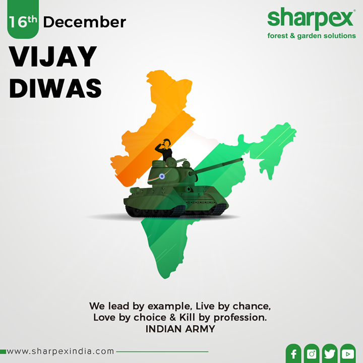 We lead by example, Live by chance, Love by choice & Kill by profession. INDIAN ARMY  #VijayDiwas #VijayDiwas2019 #Salute #Brave #IndianArmy #Jaihind #16december1971 #1971War #GardeningTools #ModernGardeningTools #GardeningProducts #GardenProduct #Sharpex #SharpexIndia