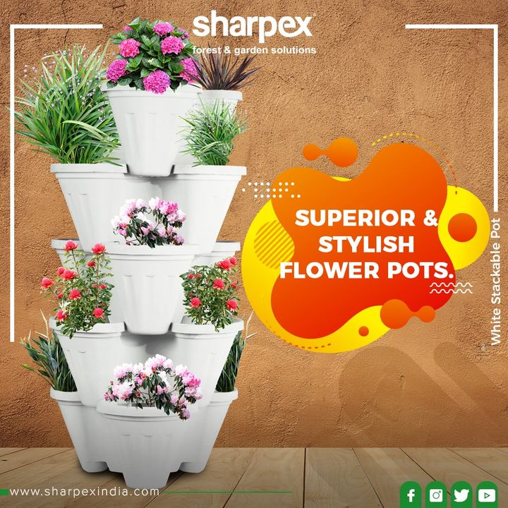 Made from superior plastic, these stylish flower pots that can be stacked on one another.  #FlowerPots #Pots #Garden #Greenery #GorgeousGreens #GreenPeace #Flowers #Gardening #GardeningTools #ModernGardeningTools #GardeningProducts #GardenProduct #Sharpex #SharpexIndia