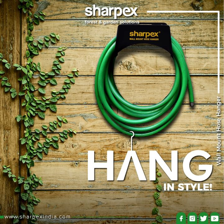 The durable, powder coated steel wall mount- Hose Hanger comes with easy installation key hold design that firmly installs the hose hanger on walls!  #HoseHanger #WallMountHoseHanger #HangInStyle #Garden #Greenery #GorgeousGreens #GreenPeace #Flowers #Gardening #GardeningTools #ModernGardeningTools #GardeningProducts #GardenProduct #Sharpex #SharpexIndia
