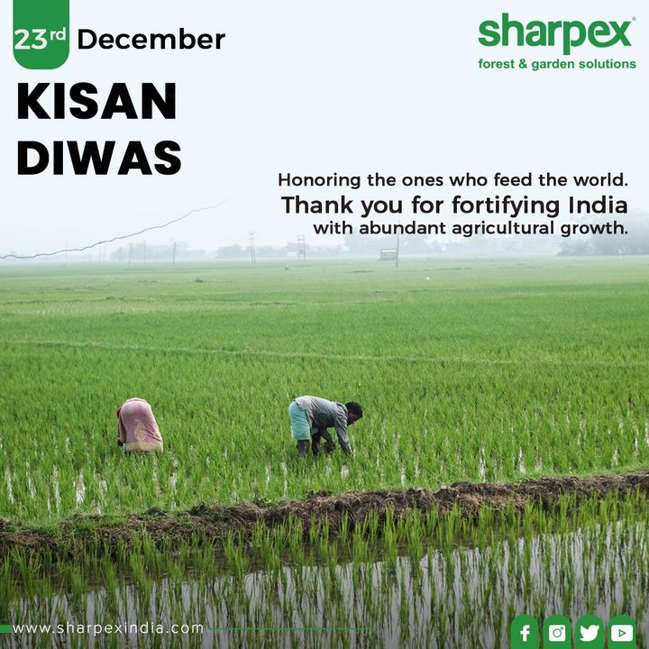Today we honor farmers who supply us not only with food, but a product that ensures our economic stability & fortifies rural & urban India.  #KisanDivas #Agriculture #Kisan #Farmers #NationalFarmersDay #FarmersDay #BackboneOfOurNation #Economy #KisanDivas2019 #GardeningTips #GardeningTools #ModernGardeningTools #GardeningProducts #GardenProduct #Sharpex #SharpexIndia