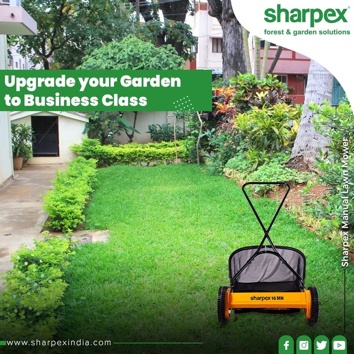 Upgrade your Garden to Business Class with our Manual Lawn Mower!   #GardeningTools #ModernGardeningTools #GardeningProducts #GardenProduct #Sharpex #SharpexIndia