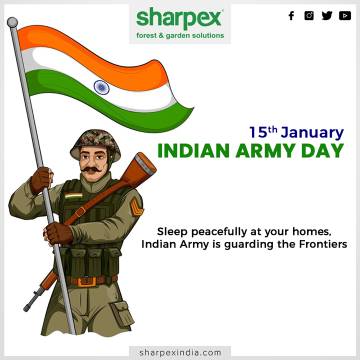 Sleep peacefully at your homes, Indian Army is guarding the Frontiers.  #ArmyDay #IndianArmy #IndianArmyDay #Inspiration #HappyArmyDay #IndianArmyDay2020 #ArmedForcesRemembranceDay #JaiHind #GardeningTools #ModernGardeningTools #GardeningProducts #GardenProduct #Sharpex #SharpexIndia