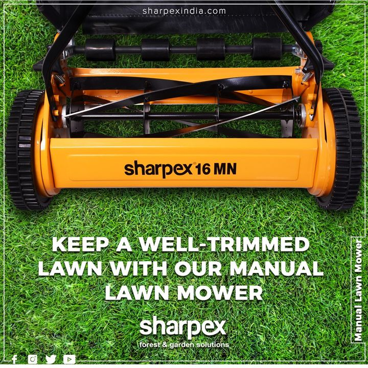 With Sharpex Manual Lawn Mower you can ensure hassle-free gardening and perfectly get rid of messy and unwanted lawn grows with this amazing and handy grass mover and catcher.  #GardeningTools #ModernGardeningTools #GardeningProducts #GardenProduct #Sharpex #SharpexIndia