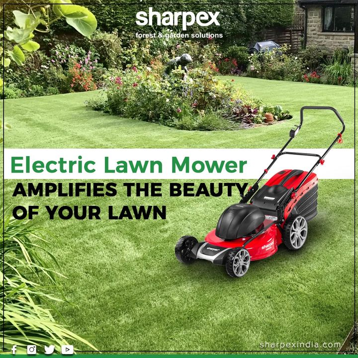 Maintaining a lawn may be an exhausting task but it becomes less of it with the help of Electric Lawn Mower  #GardeningTools #ModernGardeningTools #GardeningProducts #GardenProduct #Sharpex #SharpexIndia