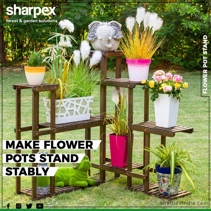 Give your home, deck, or balcony the perfect combination of classic style and natural beauty with this charming planter stand  #FlowerPotStand #GardeningTools #ModernGardeningTools #GardeningProducts #GardenProduct #Sharpex #SharpexIndia