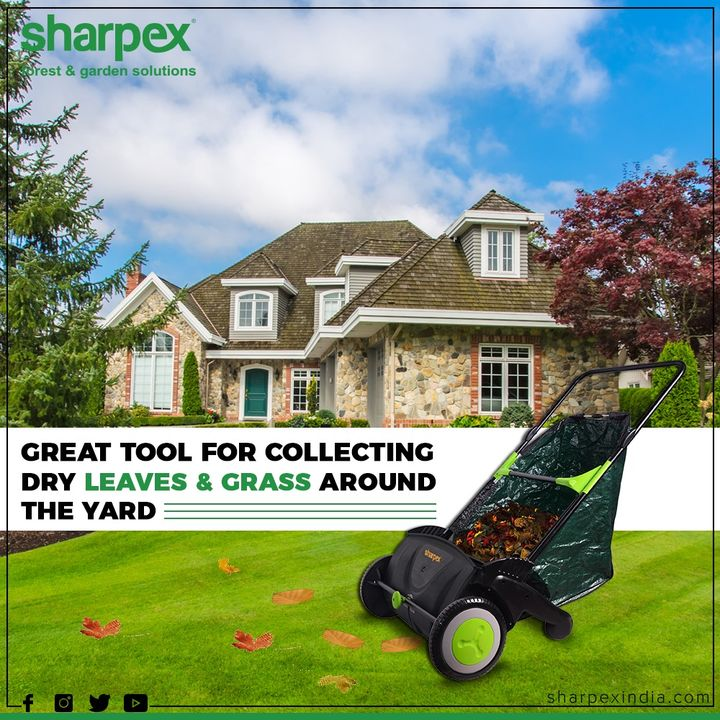 The push lawn sweeper provides an easy and convenient way to keep your lawn look clean and green.  #GardeningTools #ModernGardeningTools #GardeningProducts #GardenProduct #Sharpex #SharpexIndia