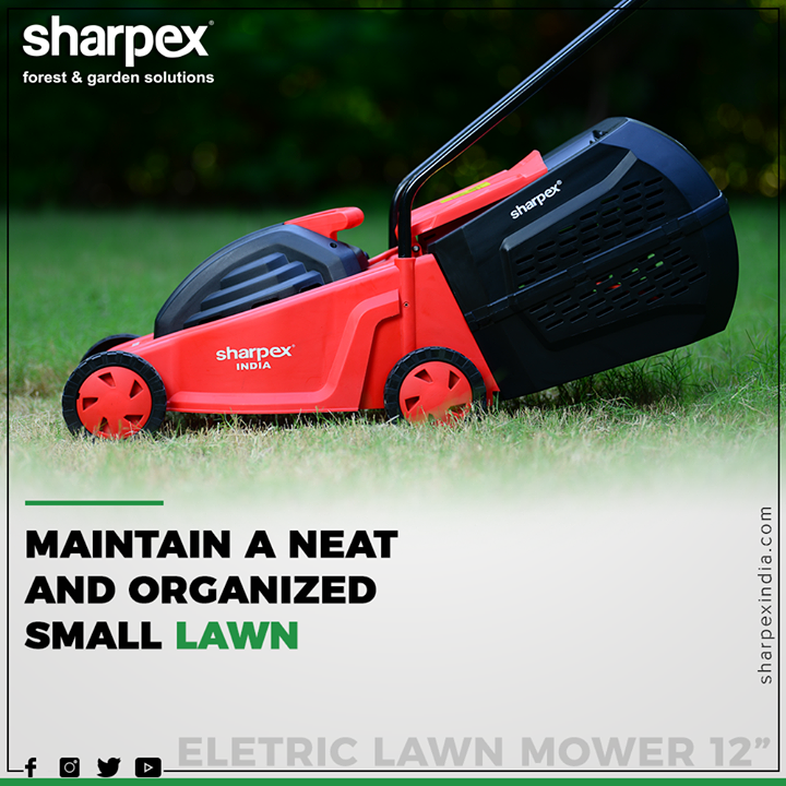Sharpex Electric Lawn Mower helps you to make your small Garden more beautiful.  #GardeningTools #ModernGardeningTools #GardeningProducts #GardenProduct #Sharpex #SharpexIndia