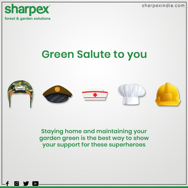 Green salute to you from Sharpex Gardening Community  #ThankYou #Salute #GreenSalute #StayIndoor #SocialDistancing #StayUnited #COVID19 #GardeningTools #ModernGardeningTools #GardeningProducts #GardenProduct #Sharpex #SharpexIndia