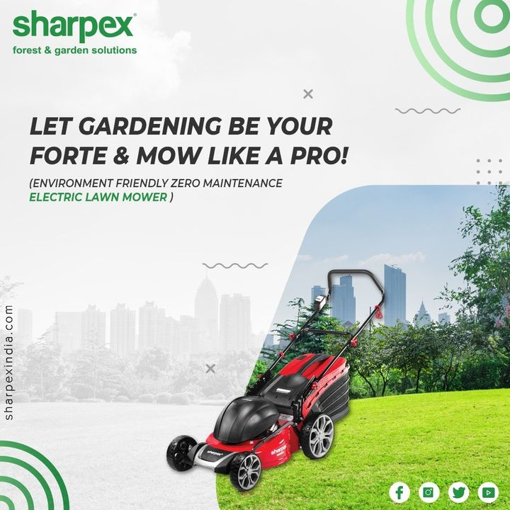 Are you a gardening enthusiast who is also an environmentalist? If yes, then say no to noise pollution, let gardening be your forte & mow like a pro with the environment friendly electric lawn mower available in three different sizes.  #electriclawnmower #GardeningTools #ModernGardeningTools #GardeningProducts #GardenProduct #Sharpex #sharpexindia