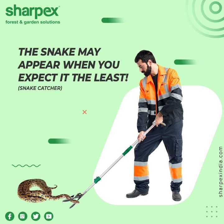 The snake may appear when you expect it the least, especially during the monsoon! Keep a snake catcher stick handy as a preventive measure because they are the modern face of the #SnakeCatchers at the present time.   #GardeningTools #ModernGardeningTools #GardeningProducts #GardenProduct #Sharpex #sharpexindia