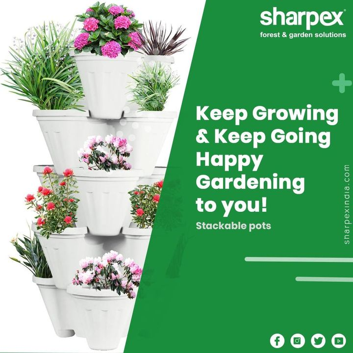 Vertical gardening is in fashion & so are the stackable pots! Keep going & keep growing in a fashionable manner. Happy gardening to you!  #GardeningTools #ModernGardeningTools #GardeningProducts #GardenProduct #Sharpex #sharpexindia