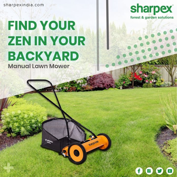Looking for the reasons to buy a manual lawn mower? They are cost-effective. They are better for the health of your lawn. They do not emit greenhouse gases. They also give you the chance to do a little physical exercise. Find your zen in your backyard & have a happy mowing experience!  #GardeningTools #ModernGardeningTools #GardeningProducts #GardenProduct #Sharpex #sharpexindia
