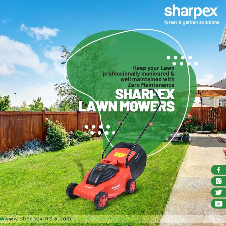 A lawn is a nature under totalitarian rule and an electric lawn mower helps to keep lawns manicured & well-maintained.  Behold the bounties of a beautifully manicured lawn with #Sharpex.  #ElectricLawnMower #GardeningTools #ModernGardeningTools #GardeningProducts #GardenProduct #SharpexIndia