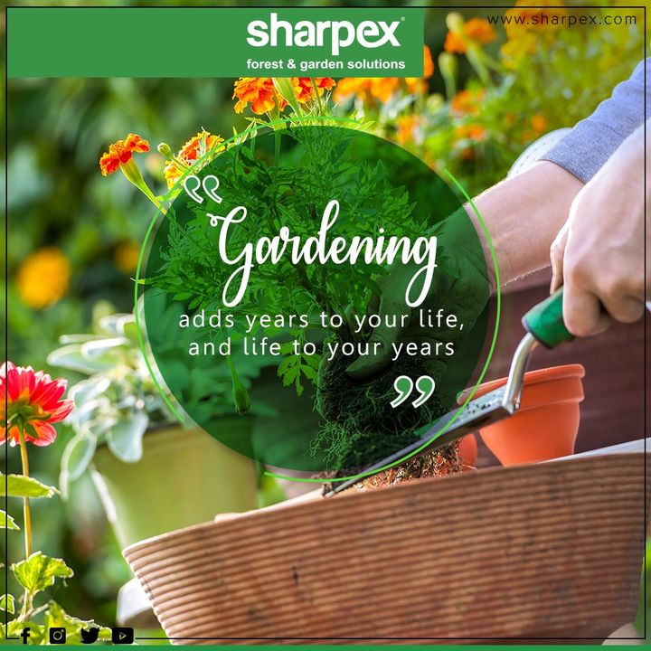 Gardening adds years to your life and life to your years.  #QOTD #Sharpex #GardeningTools #ModernGardeningTools #GardeningProducts #GardenProduct #SharpexIndia