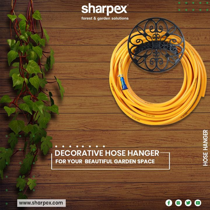 Attractive metal design gives a classic, durable & elegant touch to any yard or garden space  #DecorativeHoseHanger #HoseHanger #Sharpex #GardeningTools #ModernGardeningTools #GardeningProducts #GardenProduct #SharpexIndia